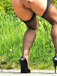 Nylon, Heels, Outdoor, Nylons