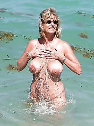 Mature, Beach, Granny beach, Granny, Big boobs, Mature beach