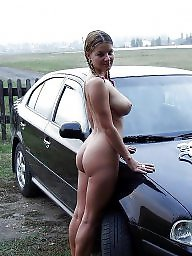 Public, Car, Tits, Asses, Big boobs, Public nudity