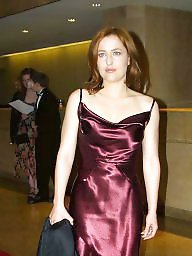 Dressed, Satin, Dress, Dressing, Gillian anderson