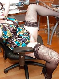 Mature stocking, Blond mature