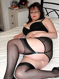 Black stockings, Amateur stockings, Black milf, Blue
