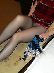Skirt, Amateur stockings, Leather skirt, Leather, Stockings