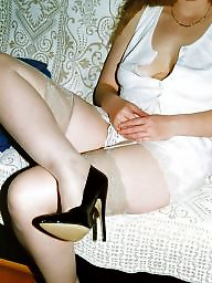 Heels, White stockings, Wife stockings