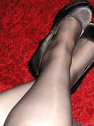 Heels, Amateur stockings, Tights, Pantyhose, Black pantyhose, Black stockings