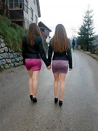 Heels, Leg, Upskirt, Leggings