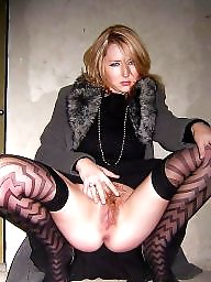 Nylon mature, Mature nylon, Wide, Wide open, Mature stocking, Mature stockings