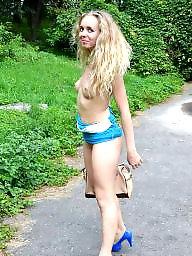 Nude in public, Public nude, Flashing, Woods, Public, Heels