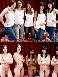 Dressed group undressed women