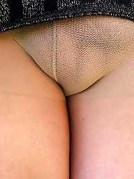 Mature upskirt, Mature stockings