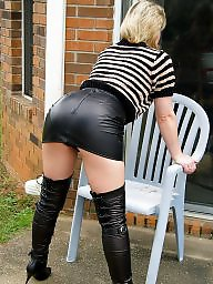 Mature leather, Skirt, Mature skirt, Amateur mature, Leather skirt, Leather