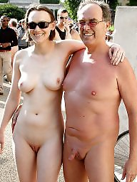 Nude beach, Nude couples, Old couples, Public nude, Old young, Beach