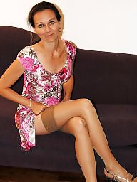 Milf, Amateur mature, Mature, Stockings, Spread, Amateur