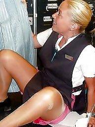 Stewardess, Amateur stockings, Flashing