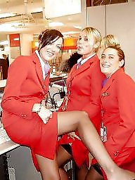Amateur stockings, Flashing, Stewardess, Stockings