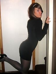 Stockings, Dress, Tight dress, Black, Dressed