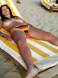 Sunbathing, Mature tits