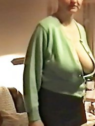 Mature big tits, Downblouse, Braless