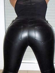 Leather, Heels, Ass, Amateur ass, Black ass, Black