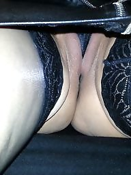 Upskirt, My wife, Amateur wife, Upskirt stockings