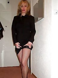 Nude milf, Black stockings, Posing