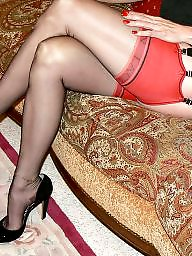 Black stockings, Amateur stockings, Black, Red