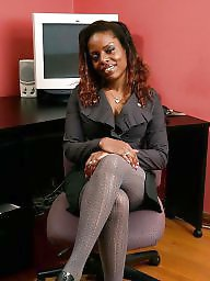Ebony mature, Office, Tight, Mature stockings, Black mature