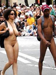 Ebony nude in public