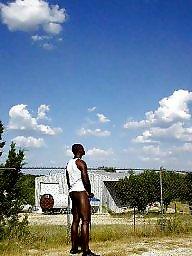 Flashing ebony, Naked, Outdoor, Ebony public