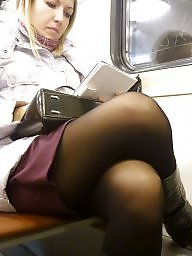 Pantyhose, Stockings, Upskirt, Upskirts, Pantyhose upskirt, Train