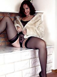 Kirsty blue, Posing, Stocking milf, Black milf, Black stockings, Pose