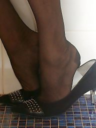 Shoes, Ups, Close up, Black stockings, Close