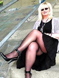 Mature upskirt, Mature stockings, Shoes