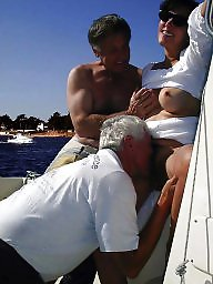French, Gangbang, Milf flashing, Boat, French milf