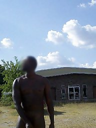 Outdoor, Ebony public, Naked, Man