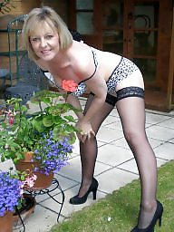 Mature stockings, British, British mature, Blond mature