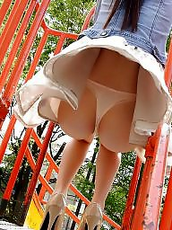 Ups, Stockings upskirt, Public nudity, Park, Skirt, Public stockings