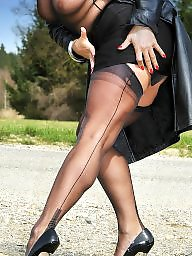 Stockings, Milf heels, Nylons, Stocking, Public stockings, Public