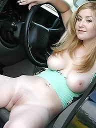 Teen fuck, Car, Flashing tits, In car