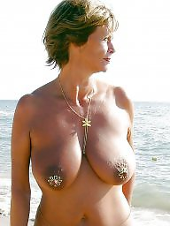 saggy tits beach Mature at