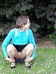 Hairy panties, Hairy upskirt, Outdoor