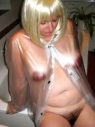 Raincoat, Hairy nipples, Transparent, Rubber, My wife, Boots