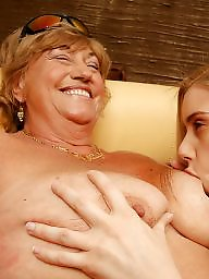 Mom, Young girl, Mature lesbians, Old mom, Party, Mature young