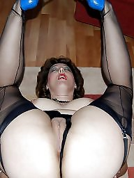 Wide open, Amateur mom, Spreading, Wide, Stocking milf, Mom stockings