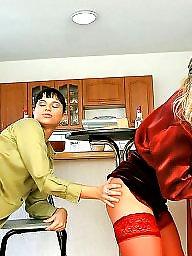 Kitchen, Sexy milf, Group, Stocking sex, Fucking, Milf fuck
