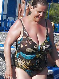 Mature beach, Granny, Swimsuit