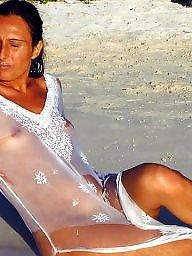 Wetting, Wet, Beach voyeur, Beach tits, Beach