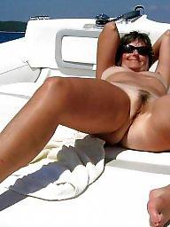 Public milf, Horny milf, Boat