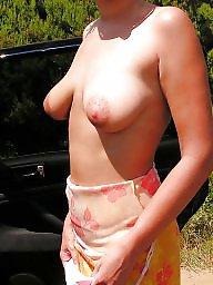 Tits showing, Tits show, Tits outdoor, Tit show, Tit public, Wifes public
