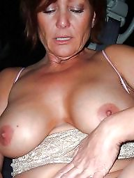 Mature slut, Flashing tits